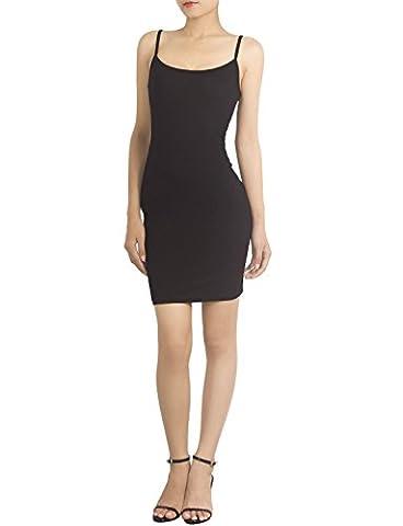 iB-iP Women's Cotton Blend Spaghetti Straps Full Slips Mid-Thigh Bodycon Dress, Size: L, Black - Lycra Turtleneck Dress