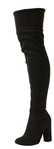 Londres Noir Femmes Bloc Coupe Haut Talon Dames Zips Des Pirates Large Tilly Le Extensible Genou Suède Des Chaussures Sur Bottes Ht5fq