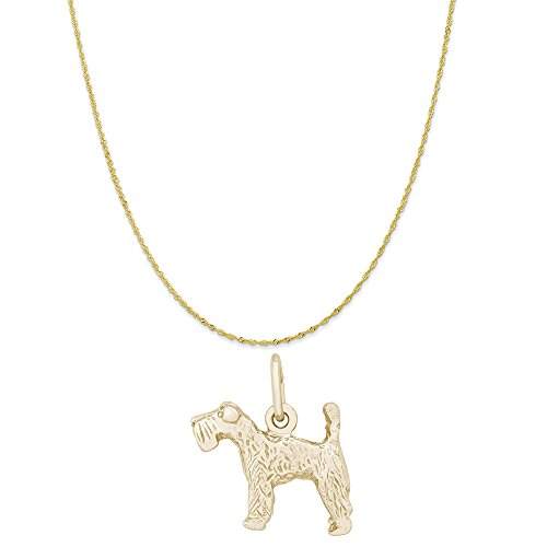Kerry Terrier Charm Dog Blue (Rembrandt Charms 10K Yellow Gold Kerry Blue Terrier Charm on a Twist Curb Chain Necklace, 20