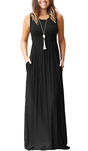 MOLERANI Women Short Sleeve Loose Plain Casual Long Maxi Dresses with Pockets Black S (Maxi Dress Black Casual)