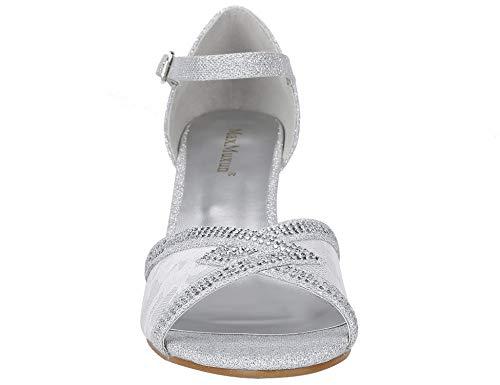 Sandales Mid Blanc Strass Dames Femmes Bout Mode Pompes Chaussures Talons Bling Ouvert Maxmuxun Dentelle Cristal Bordée 1qxgFwf4