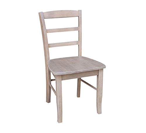 Wood & Style Furniture Set of Two Madrid Ladderback Chair, Gray Home Office Commerial Heavy Duty Strong - Chair Office Madrid