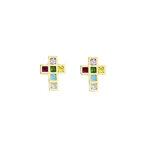 14k Yellow Gold Kids Madi K Multi-colored CZ Cross Post Earrings (Colored Multi Yellow Cross)