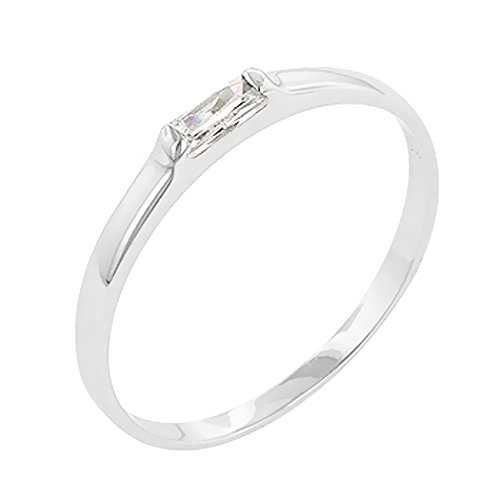 (J Goodin Trendy Jewelry Clear Petite Solitaire Ring Size 7)