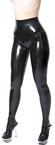 VsvoLatex Womens Latex Pants Leggings with Inner Condom (Small, Black)