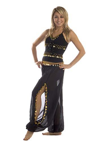 MissBellyDance Harem Pant & Tank Top Belly Dancer Costume Set | SADIQA (Black/Silver, XXL)