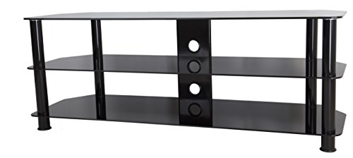 AVF SDC1250CMBB-A  TV Stand for 39-inch to 60-inch TVs, Black Glass, Black Legs