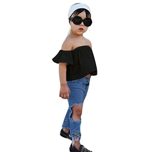 115c50c9b3d9 Moonker Kids Outfits,Toddler Baby Girls Off Shoulder Crop Tops Hole Denim  Pant Jean Headband