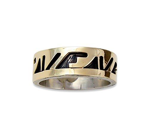 na Navajo Overlay 14K Silver Wedding Band Ring Size 6.75
