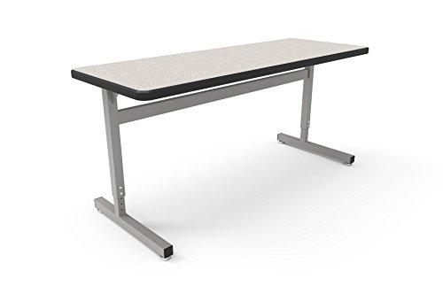 Une-T Leg Rectangle 2-Student Desk, Black Lotz Armor Edge with Grey Nebula Laminate (Particle Board Nebula)