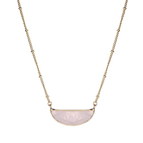 ISAACSONG.DESIGN Vintage Bohemian Statement Long Necklace for Women Gold Plated Star Healing Stone Charms (Half Moon Rose Quartz)