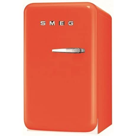 Smeg FAB5ULO 16 50 S Retro Style Series Compact Refrigerator With 1 5 Cu Ft Capacity Absorption Cooling Automatic Defrost LED Interior Lighting And Adjustable Shelves In Orange With Left
