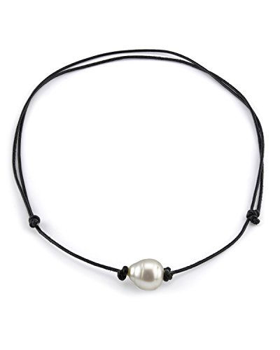 THE PEARL SOURCE Leather 11-12mm Baroque Genuine White South Sea Cultured Pearl Necklace in 18