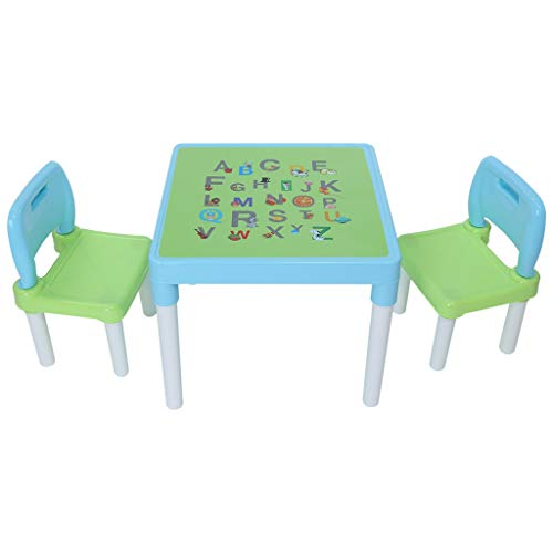 Childrens Table Chair Set, Kids Activity Art Plastic Desk Best for Toddlers Lego, Reading (2 Seats with 1 Table Sets) (Light Blue)