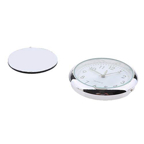 - D DOLITY High Accuracy Car Dashboard Clock Classic Table Mini Quartz Clock Stick-On Clock - Fluorescent white