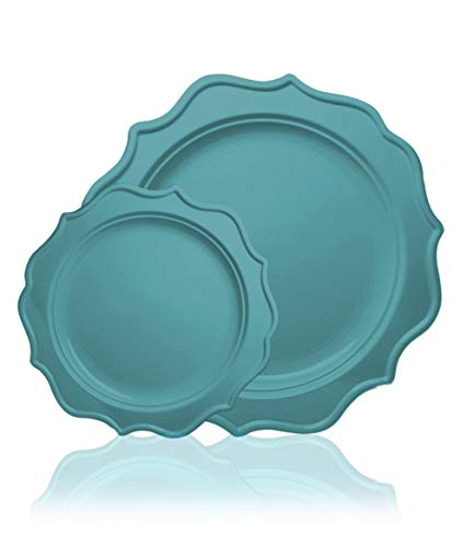 Tiger Chef 96Pack Sea Blue Color Scalloped Rim Disposable Party Supplies Set for 48 Guests includes 48 10Inch Dinner Plates 48 8Inch Plastic Plates  New Color Limited Edition