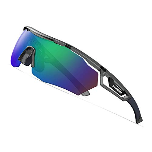 TOREGE Polarized Sports Sunglasses with 3 changeable Lenses for Men Women Cycling Running Driving Fishing Golf Glasses TR05