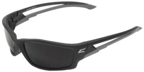 Edge Eyewear TSK216 Kazbek Polarized Safety Glasses, Black with Smoke Lens