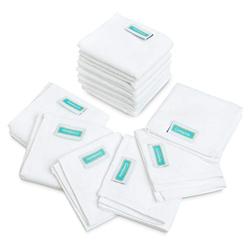 Braverman`s Washcloths Towel Set Multi-Functional Extra Soft Organic Cotton Face Towels, Super Absorbent Face Cloths, Sport and Workout Towels (White) (Oeko-TEX Certified) (12)