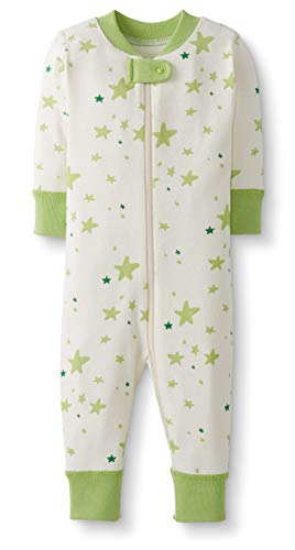 - Moon and Back by Hanna Andersson Baby/Toddler One-Piece Organic Cotton Footless Pajamas, Lime Green Star, 6-12 months