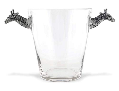 (Vagabond House Glass Ice/Wine/Champagne Bucket with Pewter Giraffe Handles 11