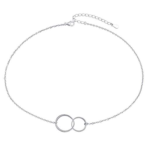 Ladytree S925 Sterling Silver Two Interlocking Infinity Circles Choker Necklace,Rolo Chain,13+3