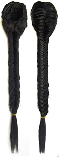 Beauty Wig World 19 inches (50cm)130g Synthetic Long Wavy Clip in/on Braided Rope Hair Chignon Drawstring Braid Fishtail Plait Ponytail #1 Jet (Braid In Ponytail)