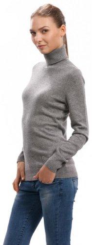 Pullover (Cuello Alto, Mujer) - 100% Cachemira - por Citizen Cashmere Gris Claro