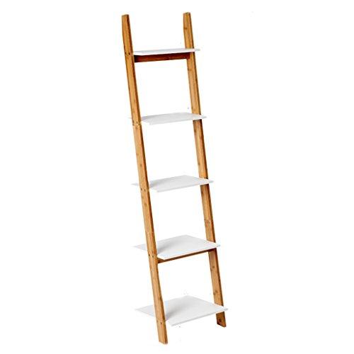 Shelves Solid Wood Living Room Ladder-Shaped Wall Bookshelf Bedroom Flower Rack Floor-standing Multilayer Corner Storage Display Stand Size Optional (Size : ()