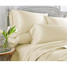 Merveilleux Grandeur Linens 800 Thread Count Four (4) Piece Olympic Queen Size Ivory  Solid Bed