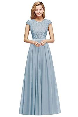 MisShow Women's Cap Sleeve Long Formal Bridesmaid Wedding Dress