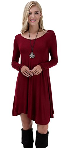 VIISHOW Women's Long Sleeve Casual Loose T-Shirt Dress (S, Wine Red)