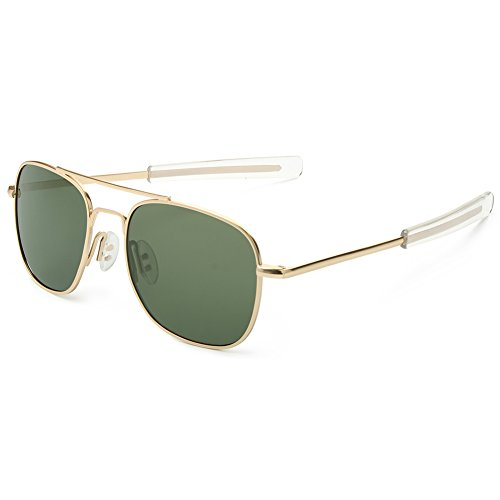WELUK Men's Pilot Aviator Sunglasses Polarized 55mm Military Style with Bayonet Temples (Gold/Dark green, - Size Sunglasses Aviator 55