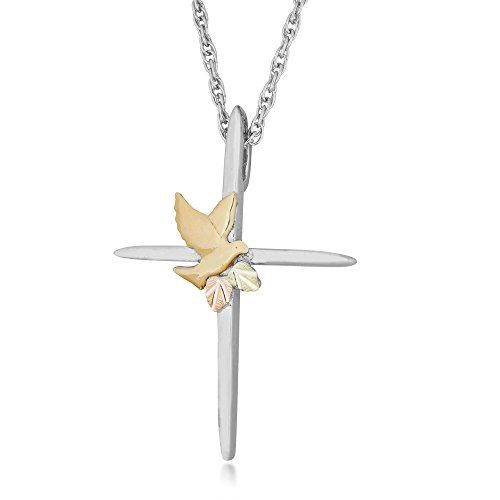 Silver Cross Black Hills Pendant Necklace with 10k Gold Dove and Leaves