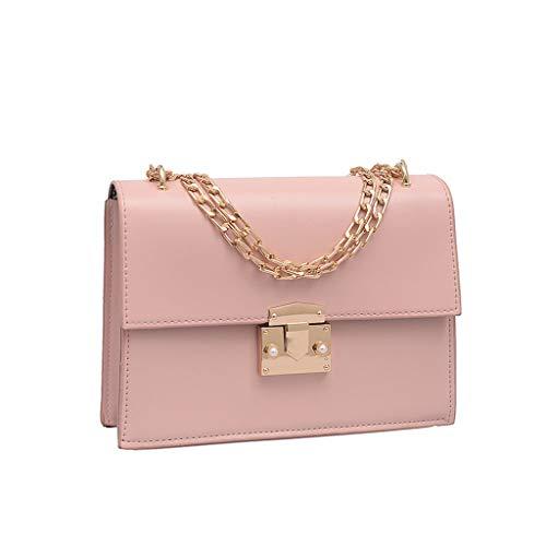 2DXuixsh Women Chain Shoulder Handbag with Lock Minimalist Classic Flap Top Cross Body Bag Purse Fashion Clutch Purses Pink