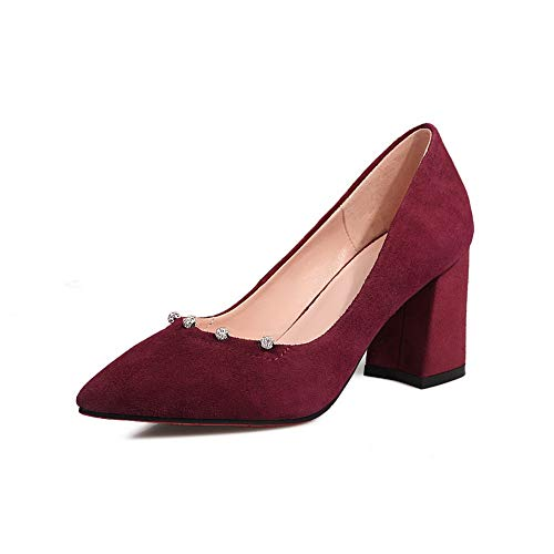 BalaMasa Womens Solid Business Travel Urethane Pumps Shoes APL11125 Claret