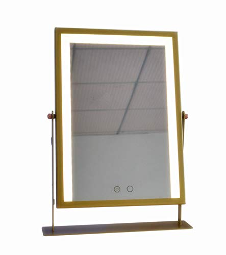 Large Makeup Mirror with Light LED Mirrors Vanity Mirrors White/Yellow Lights Touch - Bathroom Lighted Mirrors Brass