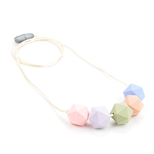 Lofca Teething Necklace-Silicone Chew Beads-Safe for Baby- Perfect for Breastfeeding Moms-100% BPA Free-Page(Rose Quartz)