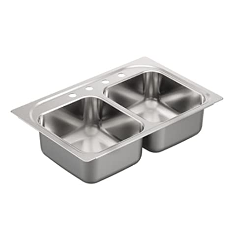 Moen G202134 2000 Series 20 Gauge Double Bowl Drop In Sink, Stainless Steel (Moen Drop In Sink)