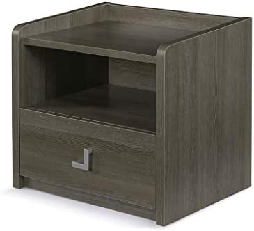 Sunon Wooden Nightstand Open Storage Cabinet Shelf Bedside Night Stand with Bin Drawer Grey