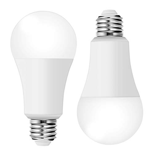 100W LED Dusk to Dawn Sensor Light Bulbs, TechgoMade 12W A19 LED Bulb E26 Base, Auto on off Outdoor/Indoor Lighting Lamps for Home Security Sensors Lights, Porch Hallway, Patio, Daylight 5000K(2 PACK)