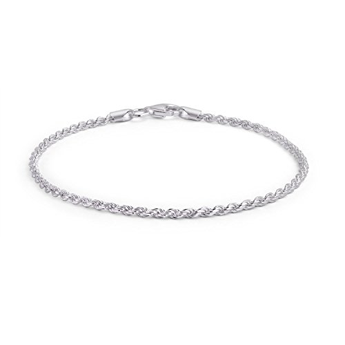 Bling Jewelry 925 Sterling Silver Rope Chain Anklet Italy