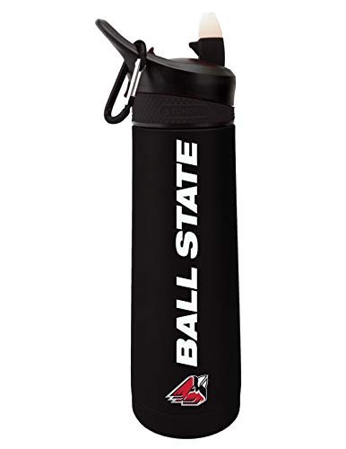 The Fanatic Group Personalized Ball State University Dual Walled Stainless Steel Sports Bottle, Design 1 - Black