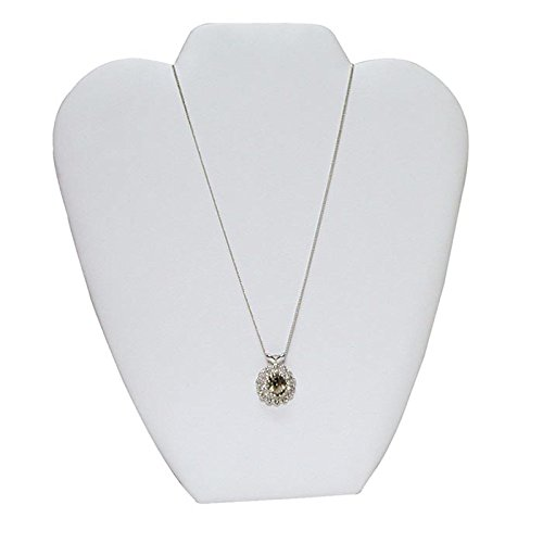 """White Leatherette Jewelry Necklace Easel Display Stand ~ 8 5/8"""" Tall"""