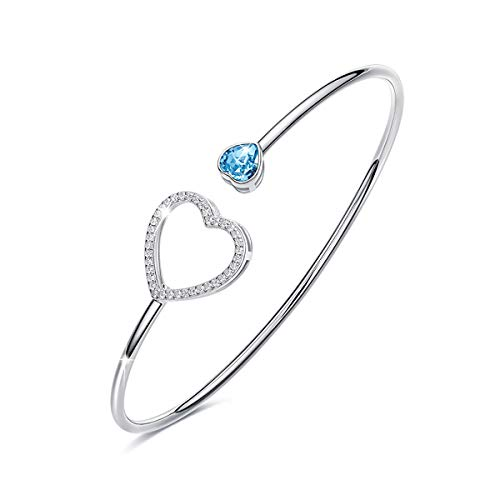 (CRYSLOVE Double Love Heart Crystal Bangle Bracelet, 925 Sterling Silver Adjustable Wire Cuff Jewelry for Women Girls (Double Love)