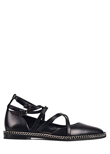- LANVIN Womens Black Leather Strappy Chain Ballerina Flats Size IT37/US7~RTL$950