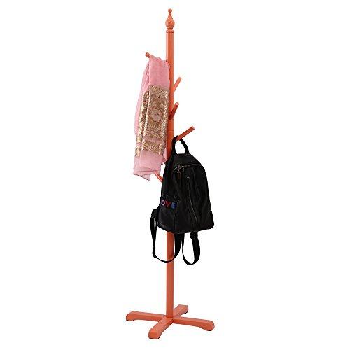 maxgoods Standing Entryway Kid's Coat Rack Coat Tree Hat Hanger Holder 7 Hooks for Jacket Umbrella Tree Stand with Base Wood (Orange) by maxgoods