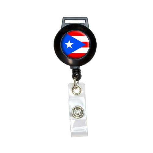 Puerto Rico Puerto Rican Flag Lanyard Retractable Reel Badge ID Card Holder