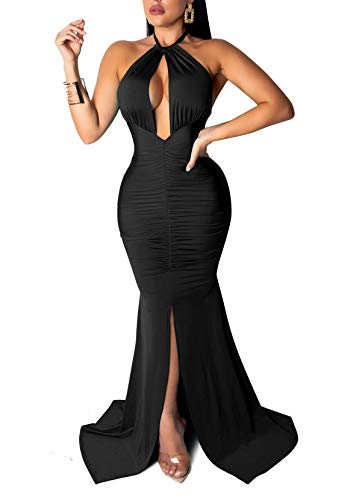 Women's Sexy Long Sleeve Deep V-Neck Party Maxi Long Dress Casual Jumpsuit Rompers Clubwear (Small, Black 1) -