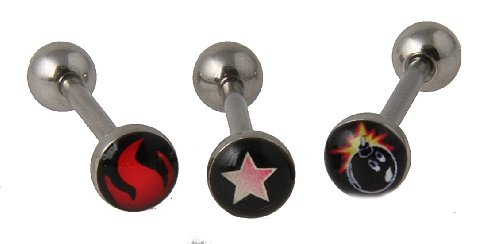 (Set of 3 14 g Surgical Steel Lead and Nickle free Barbell Tongue Ring with Logo Fire-Flame-Star-Bomb)